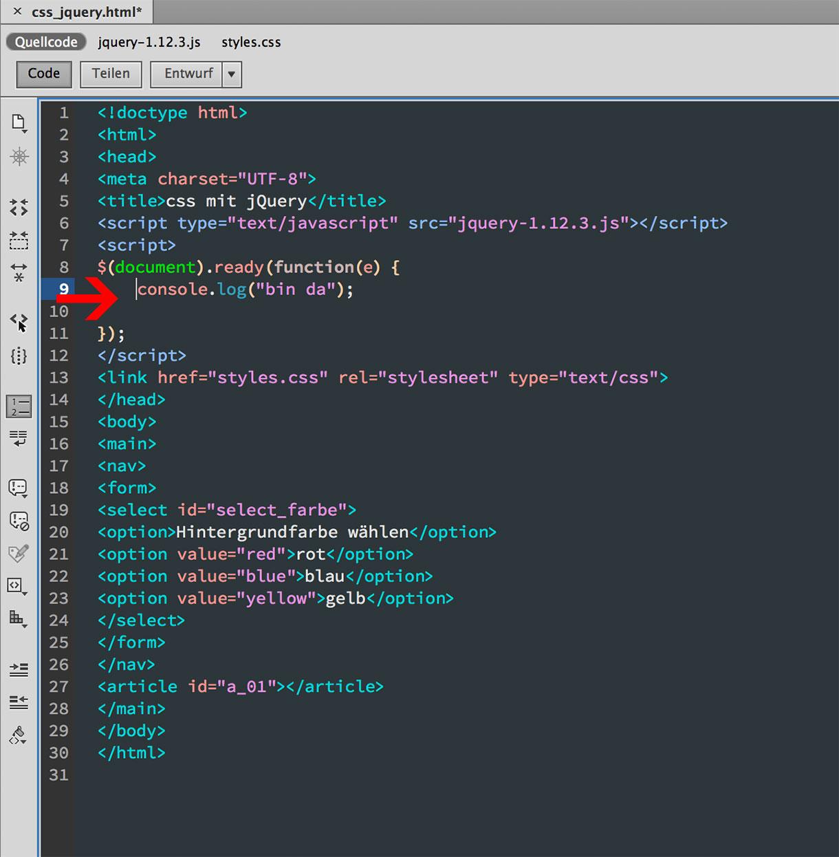 jQuery Stylesheet Anweisungen an Elemente übertragen